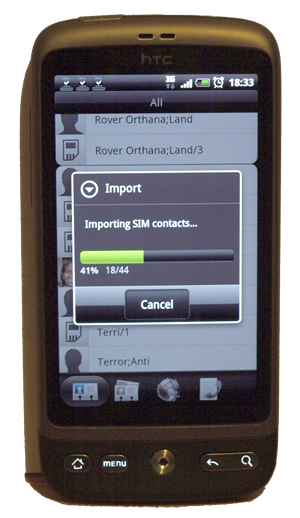 Importing SIM Contacts to the HTC Desire